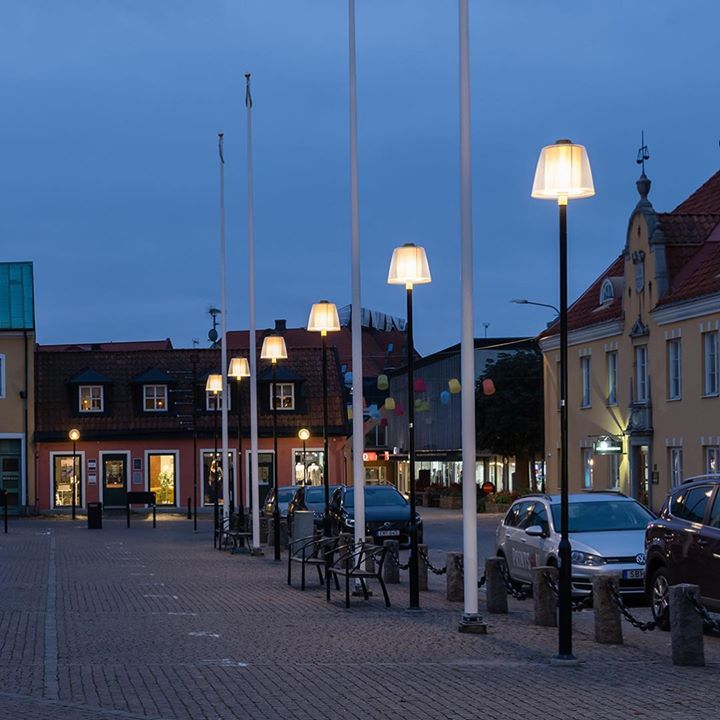 BRASS polefixture at the city square in Sölvesborg, Swe...